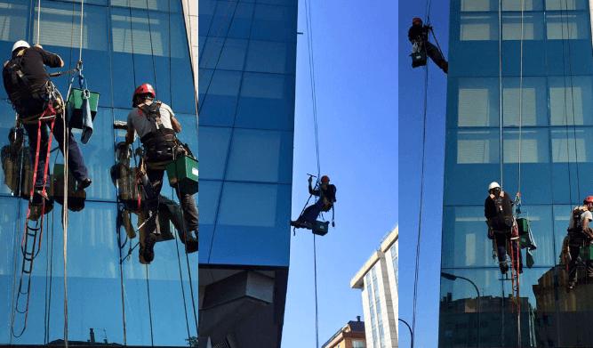 En A Coruña trabajos verticales en edificios